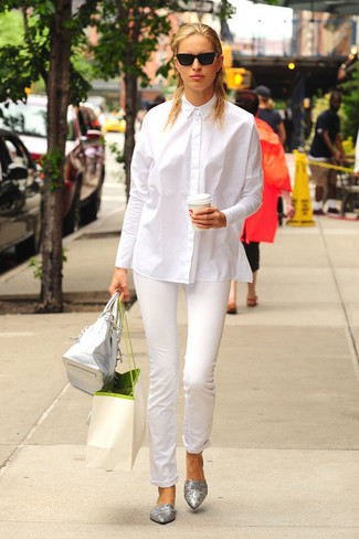 White dress shirt white skinny pants silver ballerina shoes large 3092