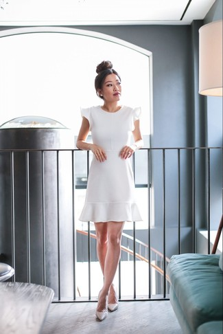 How to wear: white earrings, beige leather pumps, white ruffle fit and flare dress