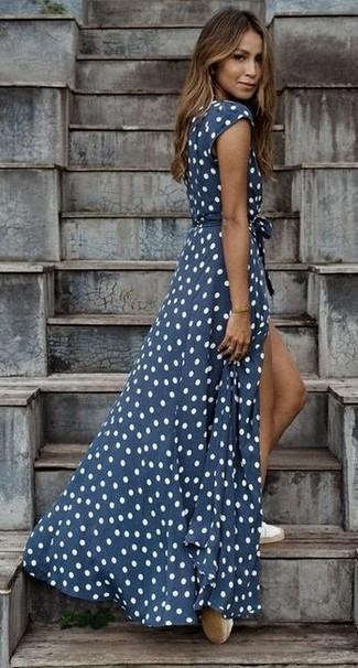 How to wear: white espadrilles, navy and white polka dot maxi dress