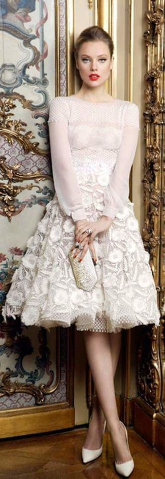 How to wear: white lace fit and flare dress, white leather pumps, silver embellished clutch, silver ring