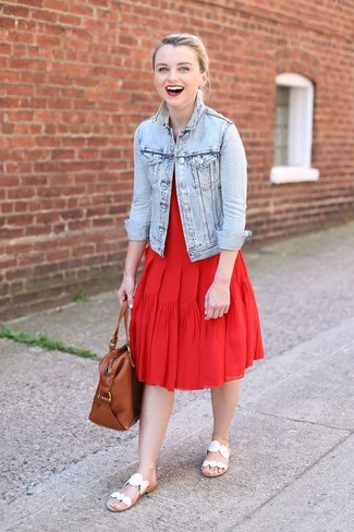 How to wear: brown leather tote bag, white leather flat sandals, red pleated midi dress, light blue denim jacket
