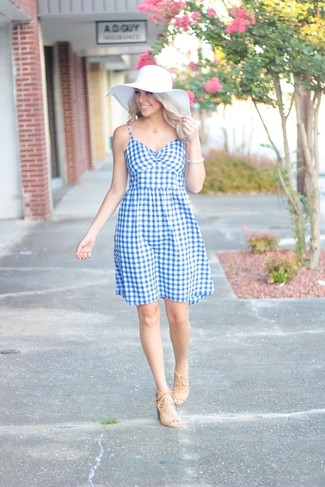 How to wear: white bracelet, white straw hat, beige suede heeled sandals, light blue gingham fit and flare dress