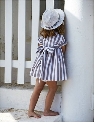 How to Wear a White Hat For Girls: Reach for grey dress and a white hat for your daughter for a laid-back yet fashion-forward outfit.