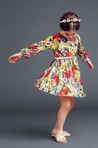 How to wear: white headband, beige sandals, multi colored floral dress