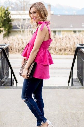 How to wear: brown leopard leather clutch, white leather heeled sandals, navy ripped skinny jeans, hot pink ruffle sleeveless top