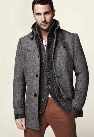 How to wear: brown chinos, white henley shirt, charcoal knit cardigan, charcoal overcoat