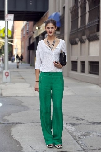 How to wear: white henley shirt, green wide leg pants, black suede clutch, silver necklace