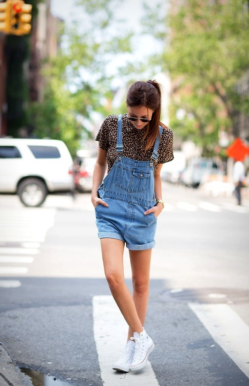 Women\u0027s White High Top Sneakers, Blue Denim Overall Shorts