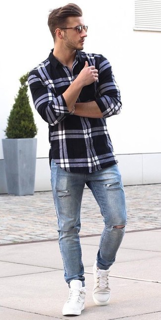 How to wear: brown sunglasses, white high top sneakers, blue ripped jeans, white and black plaid dress shirt