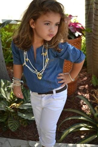 How to wear: white jeans, blue denim long sleeve shirt
