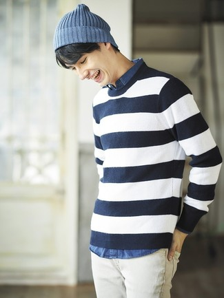 How to wear: blue beanie, white jeans, blue chambray long sleeve shirt, navy and white horizontal striped crew-neck sweater