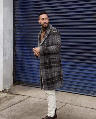 How to Wear a Charcoal Plaid Overcoat: You'll be amazed at how extremely easy it is for any guy to get dressed this way. Just a charcoal plaid overcoat and white jeans. For maximum style points, complete this outfit with a pair of dark brown leather casual boots.