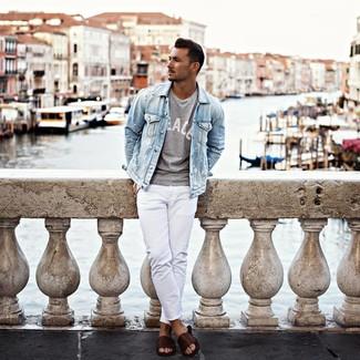 How to wear: dark brown leather sandals, white jeans, grey print crew-neck t-shirt, light blue denim jacket