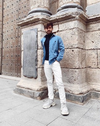How to wear: white athletic shoes, white jeans, light blue denim shirt, navy turtleneck