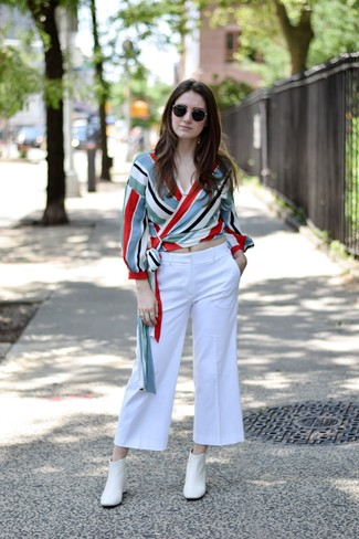 How to wear: white leather ankle boots, white culottes, multi colored vertical striped long sleeve blouse