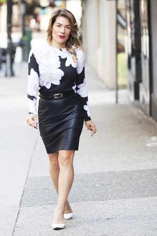 How to wear: white leather ballerina shoes, black leather pencil skirt, black and white floral crew-neck sweater