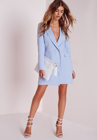 How to wear: white leather clutch, white leather heeled sandals, light blue tuxedo dress