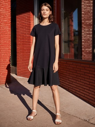 How to wear: white leather flat sandals, black ruffle casual dress