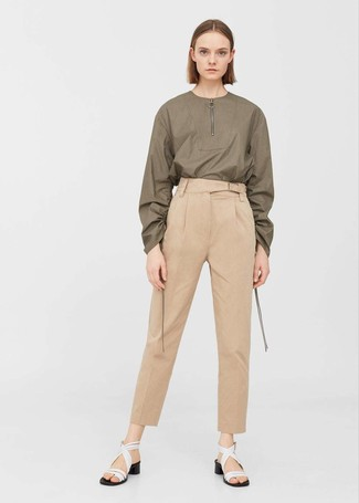 How to wear: white leather heeled sandals, tan tapered pants, olive long sleeve blouse