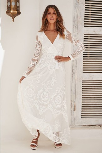 How to wear: white leather heeled sandals, white lace maxi dress