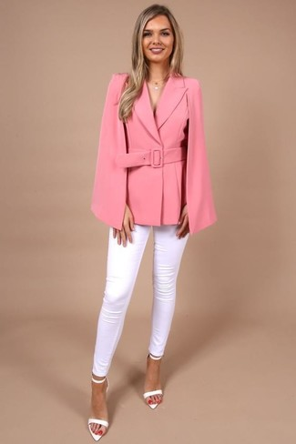 How to wear: white leather heeled sandals, white skinny jeans, hot pink cape blazer