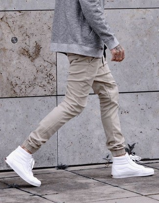 How to wear: white leather high top sneakers, beige sweatpants, grey bomber jacket