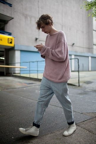 How to wear: white leather high top sneakers, grey sweatpants, pink crew-neck sweater