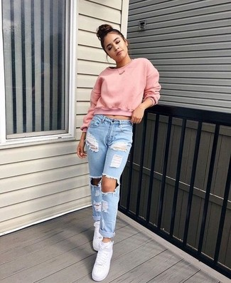 How to wear: white leather high top sneakers, light blue ripped boyfriend jeans, pink cropped sweater