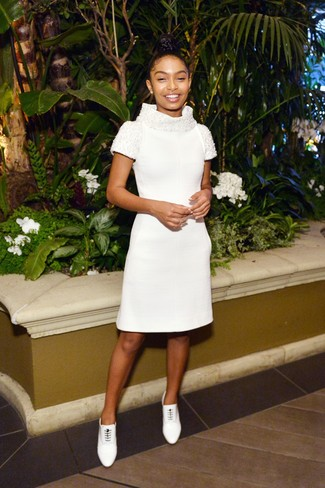 How to wear: white leather lace-up ankle boots, white embellished sheath dress