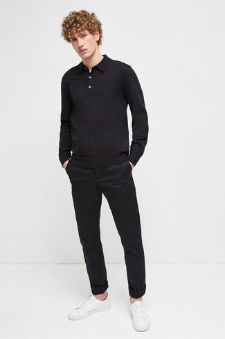 How to wear: white leather low top sneakers, black chinos, black polo neck sweater