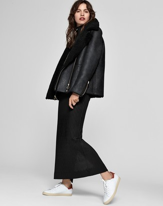 How to wear: white leather low top sneakers, black wool maxi dress, black shearling jacket