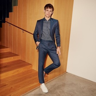 How to wear: white leather low top sneakers, charcoal polka dot long sleeve shirt, charcoal suit