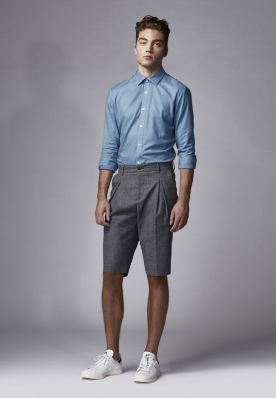 09e93499ae594 Which Shorts To Wear With a Blue Long Sleeve Shirt For Men (32 looks ...