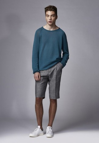 How to wear: white leather low top sneakers, grey vertical striped shorts, teal crew-neck sweater