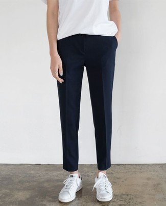 How to wear: white leather low top sneakers, navy dress pants, white crew-neck t-shirt