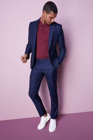 How to wear: white leather low top sneakers, red polo, navy suit