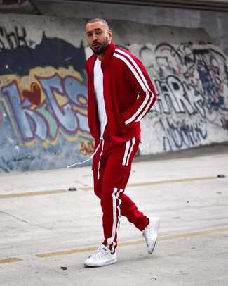 Which Crew-neck T-shirt To Wear With a Red Track Suit For Men: A crew-neck t-shirt and a red track suit are essential in any modern gentleman's great casual closet. To give this outfit a more elegant touch, why not complete this ensemble with white leather low top sneakers?
