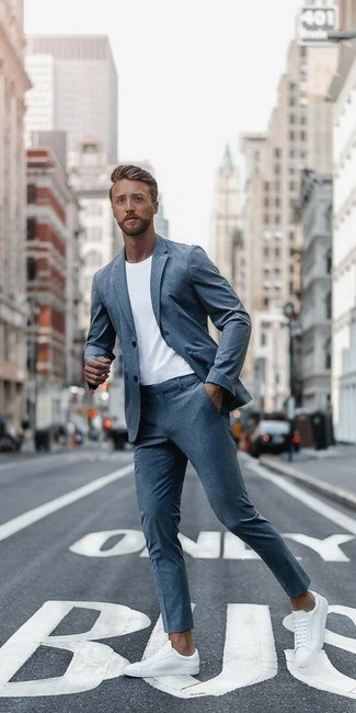 How to wear: white leather low top sneakers, white crew-neck t-shirt, grey suit