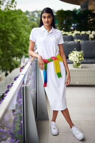 How to wear: white leather low top sneakers, white shirtdress, multi colored tie-dye cable sweater