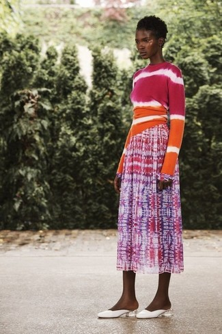 How to wear: white leather mules, hot pink tie-dye midi skirt, hot pink tie-dye crew-neck sweater