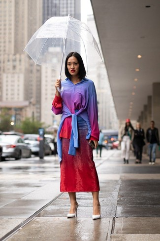 How to wear: white leather pumps, red tie-dye midi skirt, multi colored tie-dye dress shirt