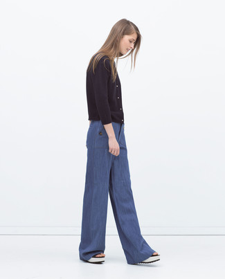 How to wear: white leather wedge sandals, blue wide leg pants, black cardigan