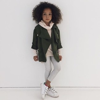 How to wear: white sneakers, white leggings, beige sweater, olive jacket