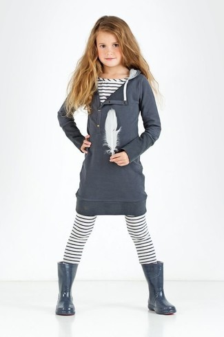 How to wear: charcoal rain boots, white horizontal striped leggings, white horizontal striped t-shirt, charcoal cotton dress