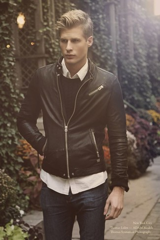 How to wear: navy jeans, white long sleeve shirt, black cable sweater, black leather bomber jacket