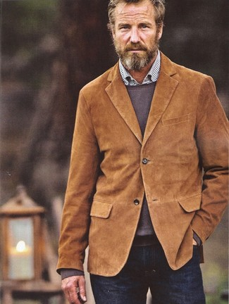 How to wear: navy jeans, white check long sleeve shirt, brown crew-neck sweater, tobacco corduroy blazer