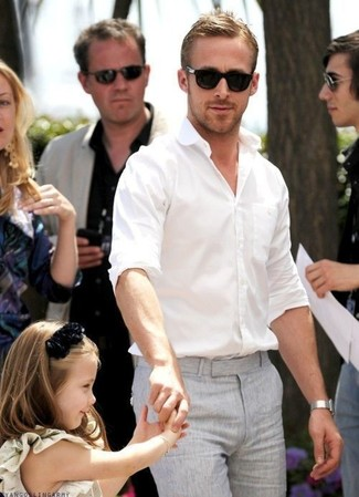 Ryan Gosling wearing White Long Sleeve Shirt, Grey Dress Pants