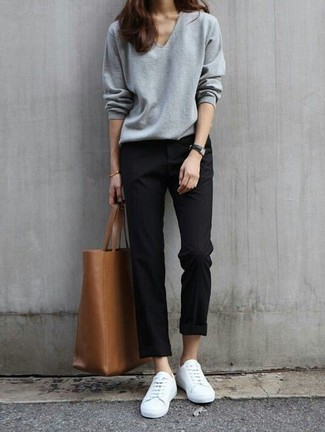 How to wear: brown leather tote bag, white low top sneakers, black chinos, grey v-neck sweater