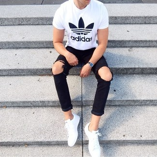 How to wear: black leather watch, white low top sneakers, black ripped jeans, white and black print crew-neck t-shirt