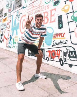 How to wear: black leather watch, white canvas low top sneakers, black denim shorts, white and red and navy horizontal striped crew-neck t-shirt